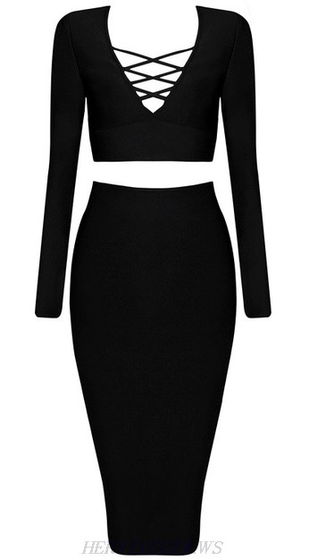 Herve Leger Black Long Sleeve Lace Up Two Piece Dress