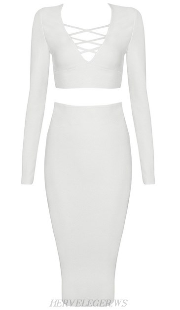 Herve Leger White Long Sleeve Lace Up Two Piece Dress