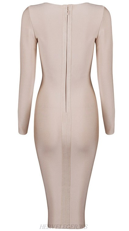 Herve Leger Nude Long Sleeve Lace Up Plunge V Neck Dress