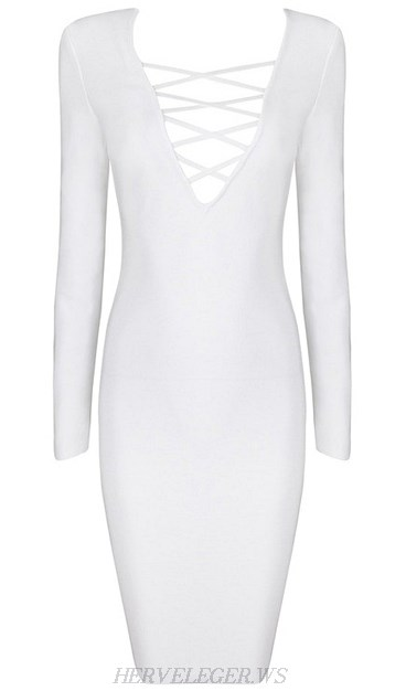 Herve Leger White Long Sleeve Lace Up Plunge V Neck Dress