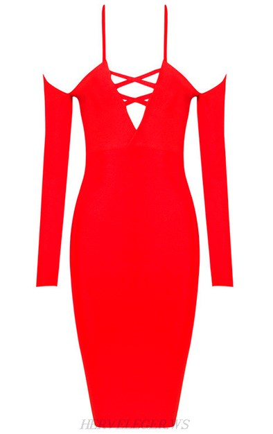 Herve Leger Red Long Sleeve Lace Up Straps Dress