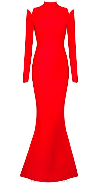 Herve Leger Red Long Sleeve Mermaid Evening Gown