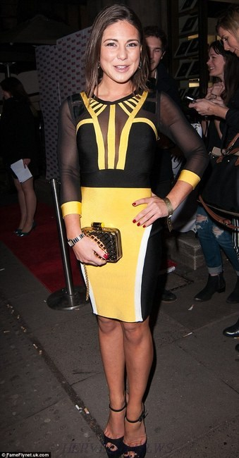Herve Leger Yellow Black Long Sleeve Mesh Contrast Bandage Dress