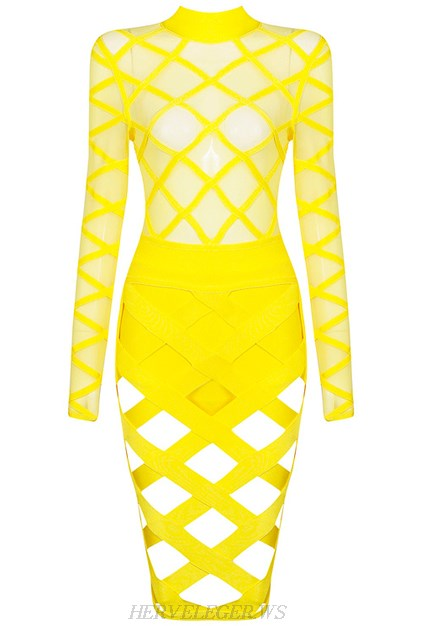 Herve Leger Yellow Long Sleeve Cut Out Dress