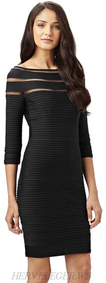 Herve Leger Black Long Sleeve Mesh Bandage Dress