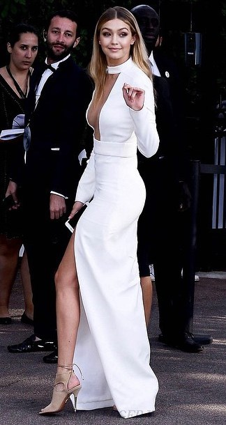 Herve Leger White Long Sleeve Mesh Insert Slit Gown