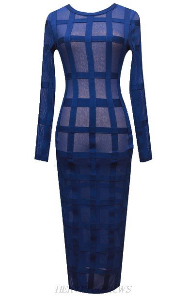 Herve Leger Blue Long Sleeve Gown