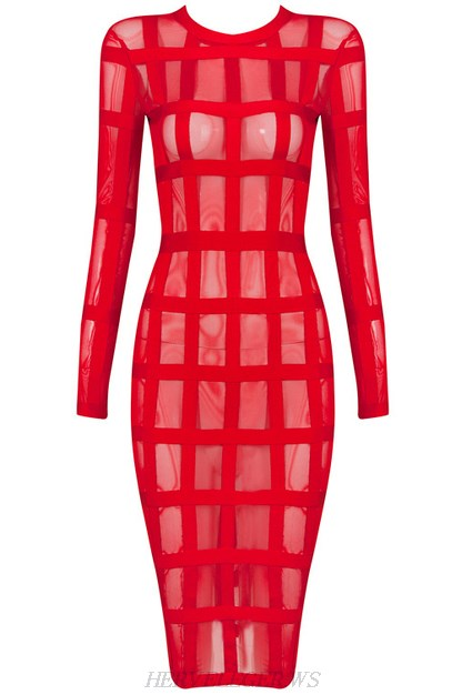 Herve Leger Red Long Sleeve Mesh Dress