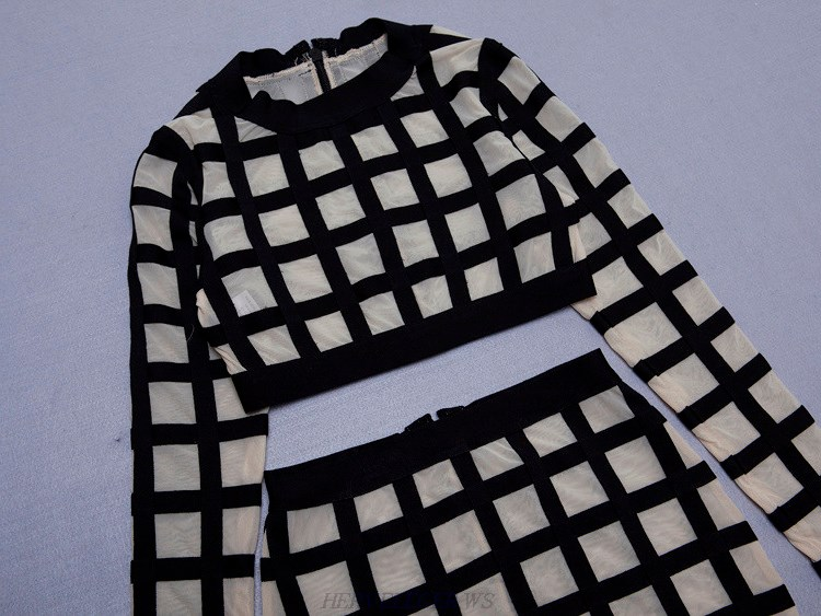 Herve Leger Black And White Long Sleeve Mesh Two Piece Dress