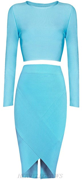 Herve Leger Light Blue Long Sleeve Open Back Two Piece Bandage Dress