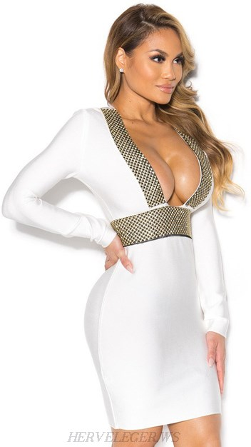 Herve Leger White Long Sleeve Plunge Embellished Dress