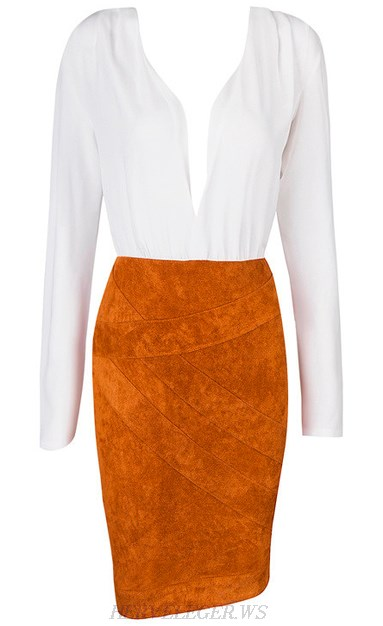 Herve Leger White And Orange Long Sleeve Plunge V Neck Asymmetrical Dress