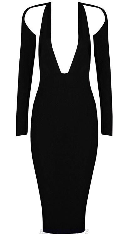 Herve Leger Black Long Sleeve Plunge V Neck Backless Dress