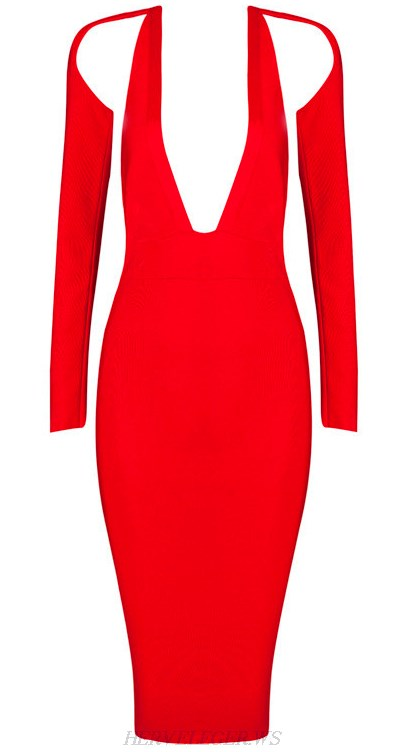 Herve Leger Red Long Sleeve Plunge V Neck Backless Dress