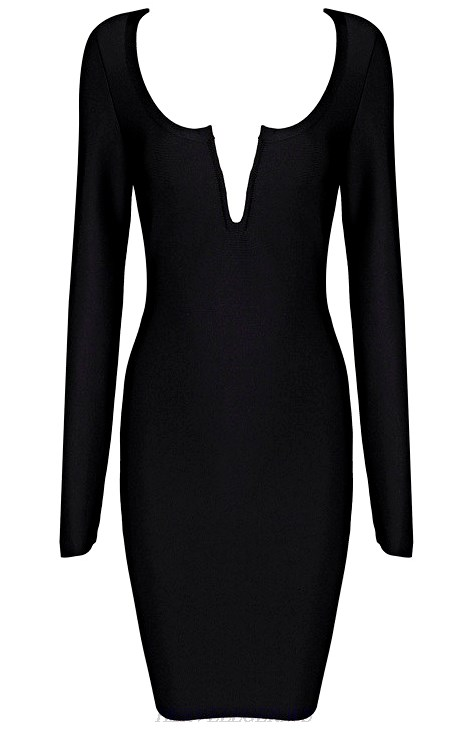 Herve Leger Black Long Sleeve Plunge V Neck Dress