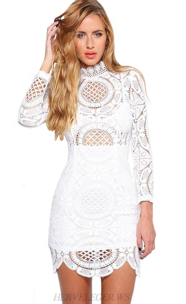 Herve Leger White Long Sleeve Scalloped Crochet Dress