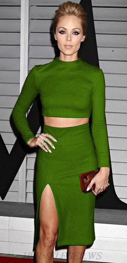 Herve Leger Green Long Sleeve Split Two Piece Bandage Dress