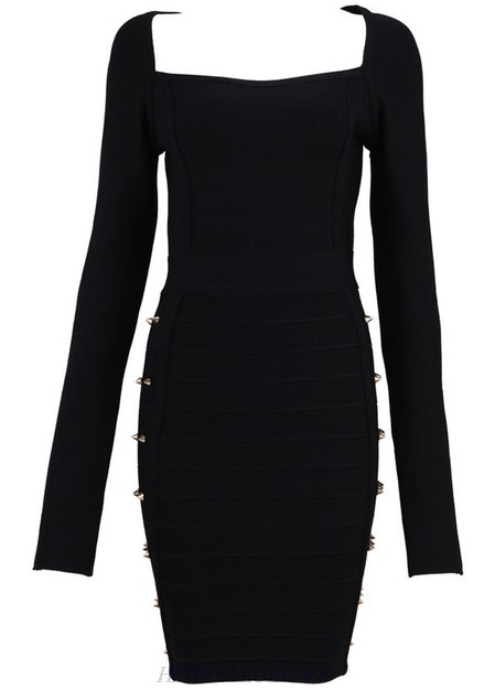 Herve Leger Black Long Sleeve Studded Dress