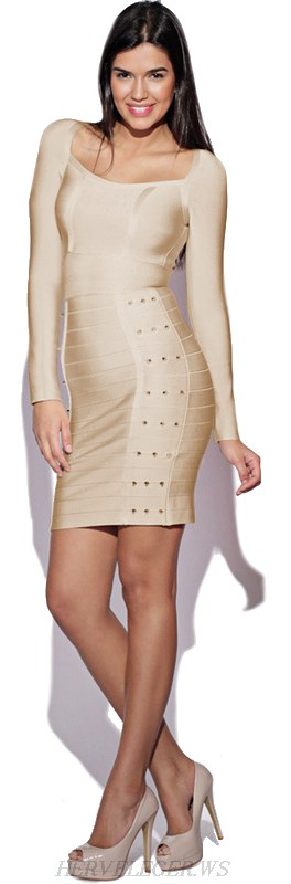 Herve Leger Nude Long Sleeve Studded Bandage Dress