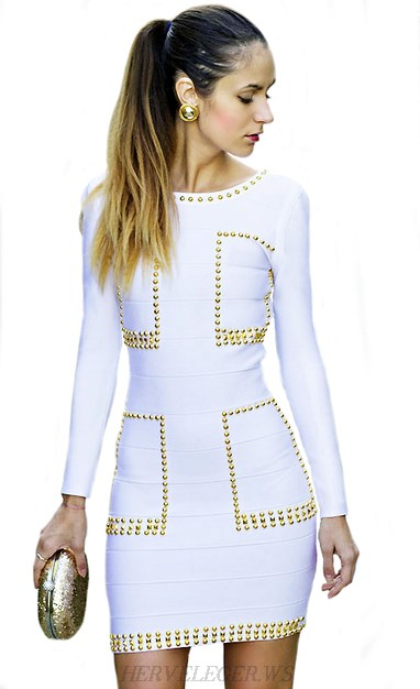 Herve Leger White And Gold Long Sleeve Studded Dress