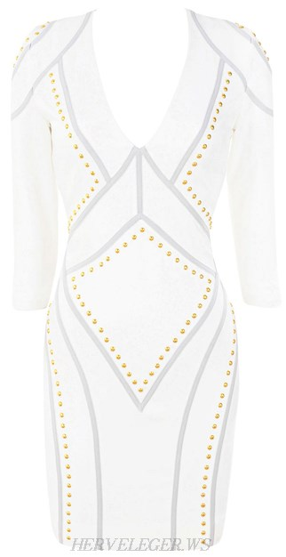 Herve Leger White Long Sleeve Studded Bandage Dress