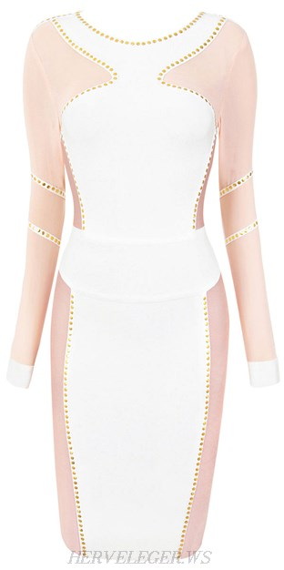 Herve Leger White Long Sleeve Studded Mesh Dress