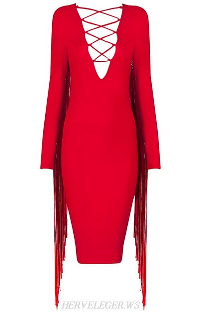 Herve Leger Red Long Sleeve Tassel Lace Up Dress