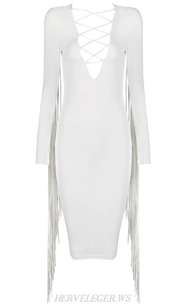 Herve Leger White Long Sleeve Tassel Lace Up Dress