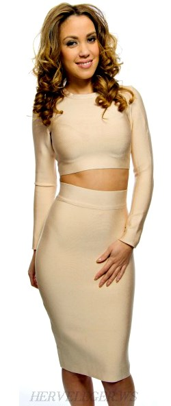 Herve Leger Nude Long Sleeve Top Skirt Two Piece Dress