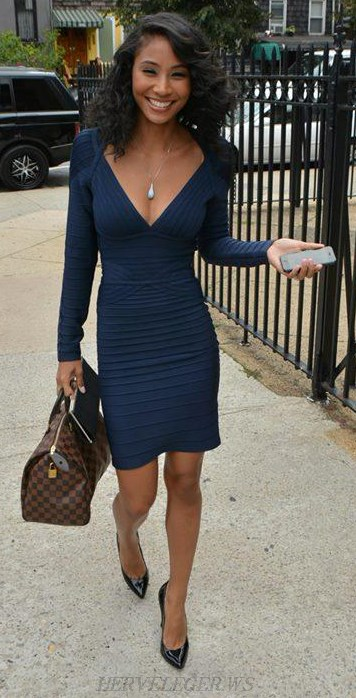 Herve Leger Navy Long Sleeve V Neck Bandage Dress