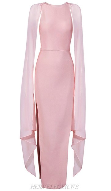 Herve Leger Pink Mesh Cape Sleeve Evening Gown