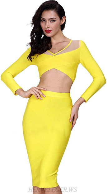 Herve Leger Yellow Mesh Asymmetric Two Piece Bandage Dress