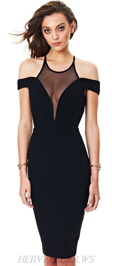 Herve Leger Black Mesh Plunge V Neck Bardot Dress