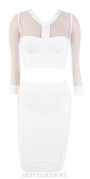 Herve Leger White Mesh Sleeves Two Piece Bandage Dress
