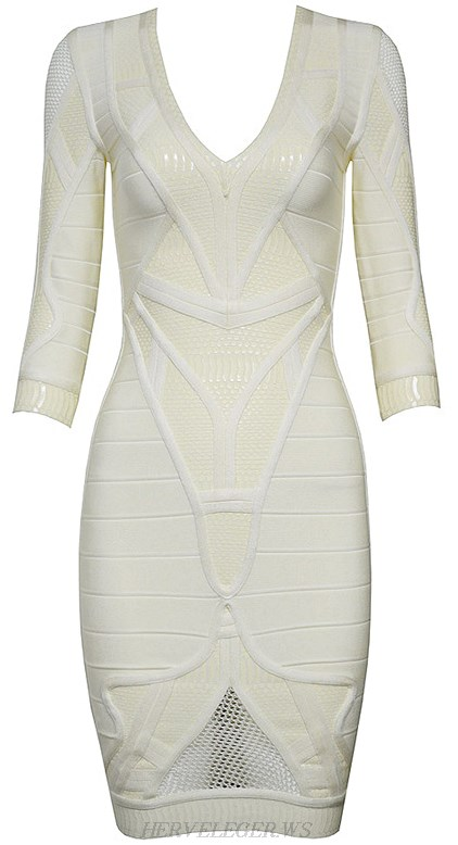 Herve Leger Ivory Mid Sleeve Puffa Print Crochet Detail Dress
