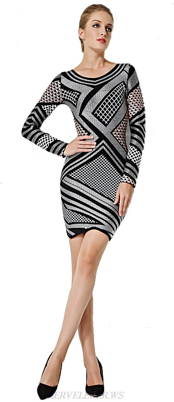 Herve Leger Monochrome Asymmetric Bandage Dress