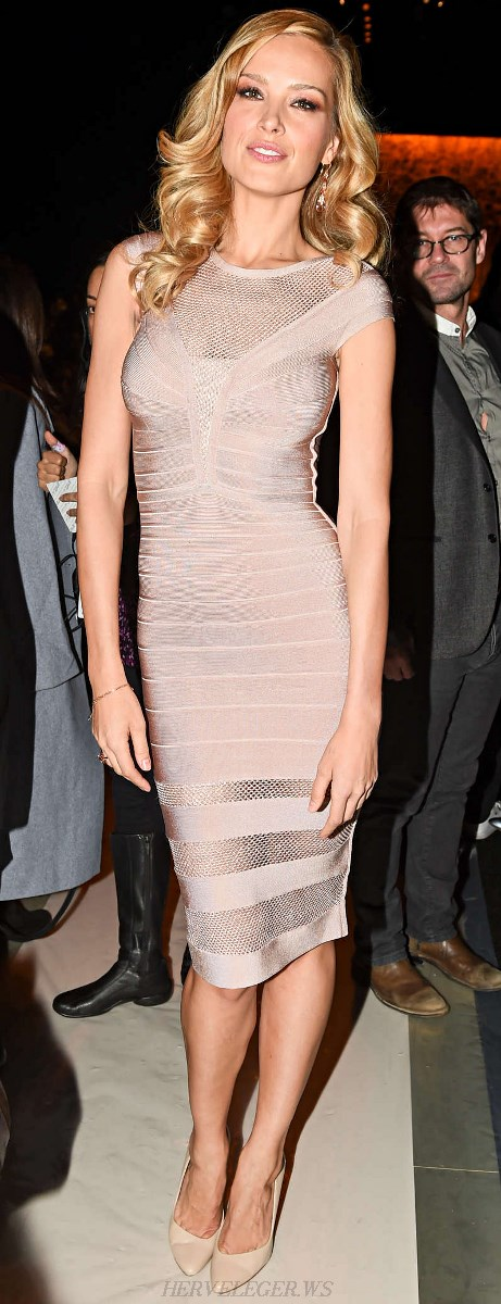 Herve Leger Nude Multi Stitch Crochet Bandage Dress