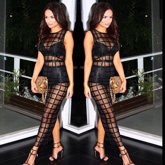 Herve Leger Black Multi Stitch Crochet Gown