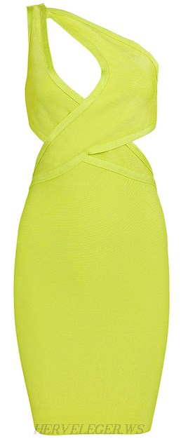 Herve Leger Green Lime One Shoulder Cutout Bandage Dress