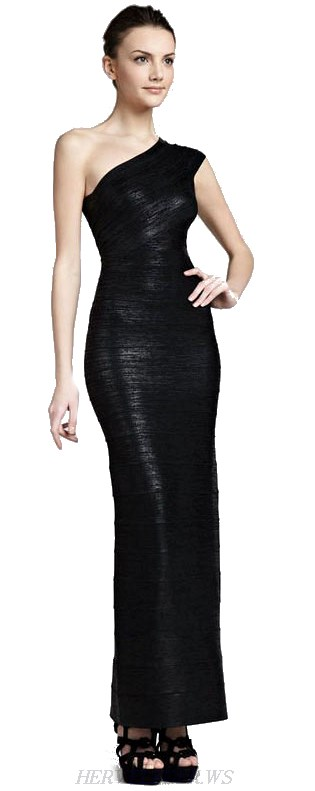 Herve Leger Black One Shoulder Foil Bandage Gown