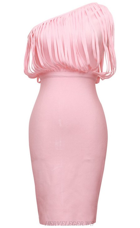 Herve Leger Pink One Shoulder Fringed Bandage Dress