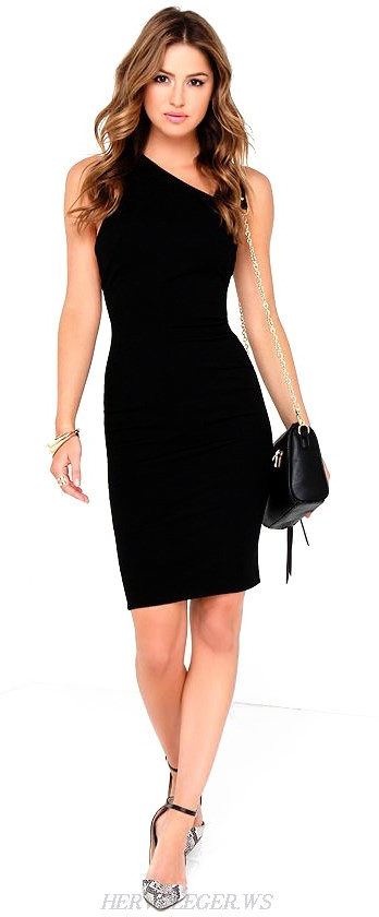 Herve Leger Black One Shoulder Strappy Bandage Dress