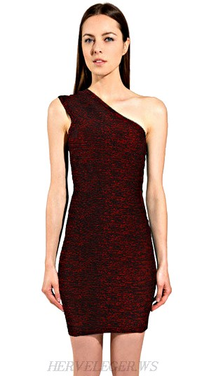 Herve Leger Black And Red One Shoulder Woodgrain Dress