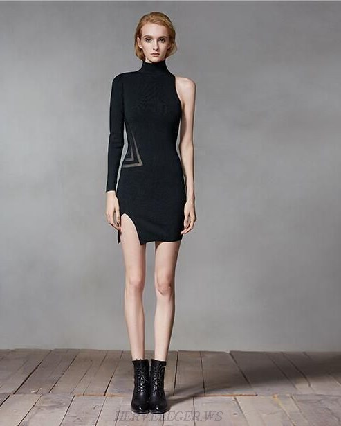 Herve Leger Black One Sleeve Mesh Dress