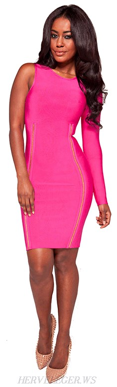 Herve Leger Pink One Sleeve Zip Embellished Bandage Dress