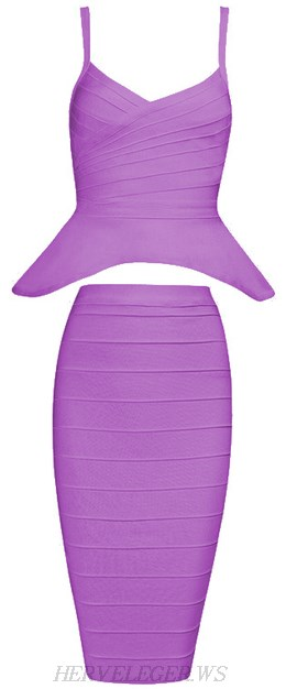 Herve Leger Purple Peplum Two Piece Bandage Dress