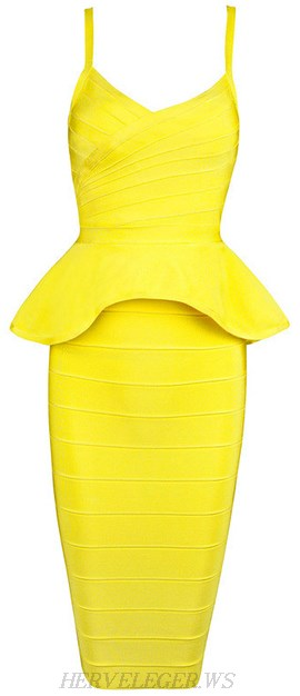 Herve Leger Yellow Peplum Two Piece Bandage Dress