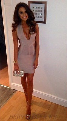Herve Leger Nude Plunge V Neck Cross Back Bandage Dress