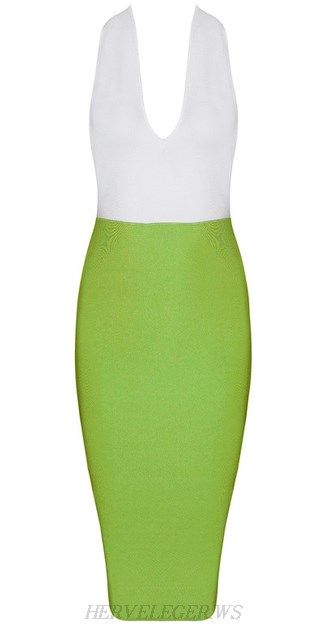 Herve Leger White And Green Plunge V Neck Halter Dress