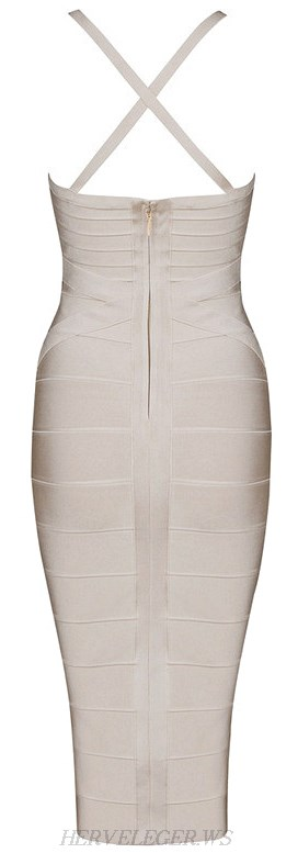 Herve Leger Nude Plunge V Neck Bandage Dress